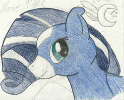 Size: 2024x1624 | Tagged: safe, artist:thewolfpack15, oc, oc only, oc:silver night, pegasus, pony, female, mare, solo, traditional art
