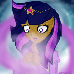 Size: 650x650 | Tagged: safe, artist:smudge-muffin, twilight sparkle, human, magical mystery cure, solo