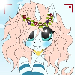 Size: 1080x1080 | Tagged: safe, artist:_wulfie, oc, oc only, oc:angel paw, unicorn, blushing, bust, camera shot, clothes, cloud, fangs, floral head wreath, flower, heart eyes, horn, jewelry, necklace, smiling, socks, solo, striped socks, sun, unicorn oc, wingding eyes