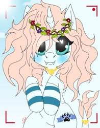 Size: 1075x1371 | Tagged: safe, alternate version, artist:_wulfie, oc, oc only, oc:angel paw, unicorn, blushing, camera shot, clothes, cloud, fangs, floral head wreath, flower, heart eyes, horn, jewelry, leonine tail, necklace, paw prints, smiling, socks, solo, striped socks, sun, unicorn oc, wingding eyes