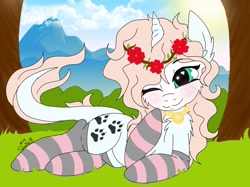 Size: 1442x1080 | Tagged: safe, artist:_wulfie, oc, oc only, oc:angel paw, pony, unicorn, blushing, clothes, floral head wreath, flower, horn, jewelry, leonine tail, mountain, necklace, one eye closed, outdoors, paw prints, prone, smilnig, socks, solo, striped socks, tree, unicorn oc, wink