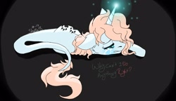 Size: 1881x1080 | Tagged: safe, artist:_wulfie, oc, oc only, oc:angel paw, pony, unicorn, crying, dark background, glowing horn, horn, leonine tail, lying down, paw prints, sad, solo, talking, unicorn oc