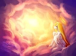 Size: 1024x760 | Tagged: safe, artist:purediamond360, oc, oc:angel light, pegasus, pony, cloud, crying, female, halo, mare, solo