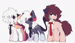 Size: 2120x1212 | Tagged: safe, artist:little-sketches, oc, oc:ayaka, oc:masashi, oc:nightmare traveler, earth pony, pegasus, chest fluff, ear fluff, eye clipping through hair, female, horn, male, necktie