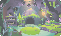 Size: 954x572 | Tagged: safe, background, cave, gameloft, indoors, moss, no pony, plant, resource, river, scenery