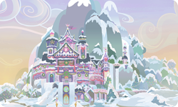 Size: 954x572 | Tagged: safe, background, castle, christmas, christmas lights, christmas tree, christmas wreath, cloud, gameloft, holiday, mountain, no pony, outdoors, resource, scenery, snow, tree, wreath