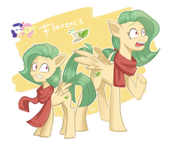 Size: 1280x1080 | Tagged: safe, artist:laescbr, fluttershy, rarity, oc, oc:florence, pegasus, clothes, female, magical lesbian spawn, next generation, offspring, parent:fluttershy, parent:rarity, parents:flarity, pegasus oc, scarf, shipping, simple background, transparent background, wings