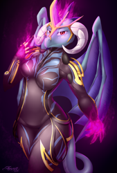 Size: 2370x3500 | Tagged: safe, artist:azzunyr, princess ember, anthro, dragon, breasts, crossover, dragoness, ember (warframe), female, fire, glowing hands, high res, looking at you, namesake, serious, serious face, solo, warframe, wings