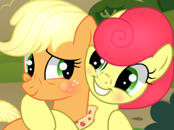 Size: 640x480 | Tagged: safe, artist:axemgr, artist:strawberry-spritz, artist:themune, applejack, strawberry sunrise, earth pony, pegasus, pony, the last problem, applerise, base used, blushing, female, freckles, grin, hug, lesbian, looking at you, mare, older, older applejack, shipping, smiling