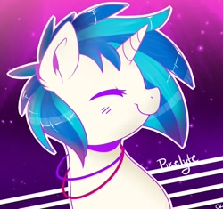 Size: 1024x961 | Tagged: safe, artist:shinypikachu25, dj pon-3, vinyl scratch, pony, unicorn, bangles, bust, cute, ear fluff, eyes closed, female, jewelry, mare, necklace, portrait, profile, smiling, solo, vinylbetes