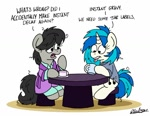 Size: 1024x793 | Tagged: safe, artist:bobthedalek, dj pon-3, octavia melody, vinyl scratch, earth pony, pony, unicorn, bathrobe, bed mane, chair, clothes, cup, messy mane, morning ponies, pajamas, robe, saucer, table, teacup, tongue out