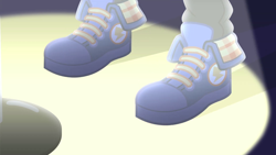 Size: 1280x720 | Tagged: safe, screencap, flash sentry, cheer you on, equestria girls, equestria girls series, spoiler:eqg series (season 2), blue sneakers, close-up, clothes, converse, discovery family logo, legs, pictures of legs, shoes, sneakers