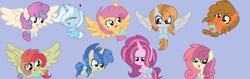 Size: 3043x963 | Tagged: safe, artist:circuspaparazzi5678, oc, earth pony, pegasus, pony, unicorn, adoptable, baby, baby adoptables, baby pony, base used, blue background, cute, magical gay spawn, magical lesbian spawn, next generation, offspring, open adopt, parent:apple bloom, parent:big macintosh, parent:cheese sandwich, parent:derpy hooves, parent:double diamond, parent:flash sentry, parent:fluttershy, parent:li'l cheese, parent:oc:dusky blitz, parent:party favor, parent:princess flurry heart, parent:rainbow blitz, parent:rainbow dash, parent:scootaloo, parent:sunset shimmer, parent:sweetie belle, parent:trixie, parents:canon x oc, parents:doubletrix, parents:li'l heart, parents:mac n cheese, parents:partysentry, parents:scootashy, parents:sunsetblitz, parents:sweetiebloom, simple background