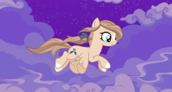 Size: 1080x581 | Tagged: safe, artist:aluramoon_, oc, oc only, oc:glider moonheart, pegasus, pony, bow, colored hooves, female, flying, hair bow, mare, night, pegasus oc, solo, stars, wings