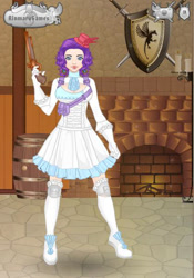 Size: 421x600 | Tagged: safe, artist:horohorogirl666, rarity, human, clothes, female, gun, humanized, skirt, solo, weapon