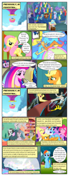Size: 612x1552 | Tagged: safe, artist:newbiespud, edit, edited screencap, screencap, applejack, auburn vision, berry blend, berry bliss, bifröst, citrine spark, citrus bit, cozy glow, dawnlighter, discord, fire quacker, fluttershy, gallus, gooseberry, huckleberry, loganberry, night view, november rain, ocellus, peppermint goldylinks, pinkie pie, princess cadance, rainbow dash, rarity, sandbar, shining armor, silverstream, slate sentiments, smolder, spike, strawberry scoop, summer breeze, summer meadow, tom, tune-up, twilight sparkle, yona, alicorn, changedling, changeling, classical hippogriff, dragon, earth pony, griffon, hippogriff, pegasus, pony, unicorn, yak, comic:friendship is dragons, arm behind head, background pony, background pony audience, book, bookshelf, canterlot, comic, crossed arms, dialogue, discorded, dragoness, explosion, eyes closed, female, filly, flying, freckles, friendship student, grumpy, hat, laughing, library, lightning, male, mane seven, mane six, mare, mountain, relaxing, rock, screencap comic, sitting, smiling, stallion, student six, unicorn twilight