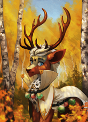 Size: 2000x2772 | Tagged: safe, artist:koviry, oc, oc only, deer, autumn, barely pony related, deer oc, forest, male, potion, solo, tree