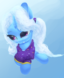 Size: 2780x3350 | Tagged: safe, artist:vultraz, trixie, unicorn, babysitter trixie, clothes, cute, diatrixes, female, gameloft interpretation, high res, hoodie, solo