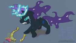 Size: 1024x580 | Tagged: safe, oc, oc only, oc:nyx, alicorn, angry, big crown thingy, broken, crown, crying, element of magic, female, filly, jewelry, magic, rage, regalia, slit eyes