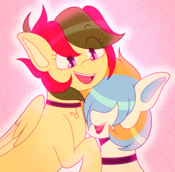Size: 3102x3065 | Tagged: safe, artist:tuzz-arts, oc, oc only, oc:attraction, oc:cool ginger, pegasus, pony, choker, cuddling, femboy, lipstick, male, male oc, multicolored hair, oc x oc, pink background, shipping, simple background, snuggling, trap