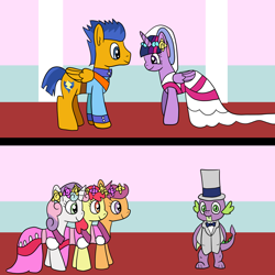 Size: 1600x1600 | Tagged: safe, artist:platinumdrop, apple bloom, flash sentry, scootaloo, spike, sweetie belle, twilight sparkle, alicorn, bride, clothes, cutie mark crusaders, dress, female, flashlight, flower, flower filly, flower girl, flower girl dress, hat, male, marriage, shipping, straight, top hat, tuxedo, twilight sparkle (alicorn), uniform, wedding, wedding dress