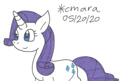 Size: 959x623 | Tagged: safe, artist:cmara, rarity, pony, unicorn, female, mare, simple background, solo, traditional art, white background