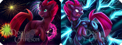 Size: 1535x566 | Tagged: safe, artist:dogi-crimson, fizzlepop berrytwist, tempest shadow, pony, unicorn, my little pony: the movie, broken horn, duality, ear fluff, electricity, electricity magic, female, fireworks, horn, mare, open mouth, solo