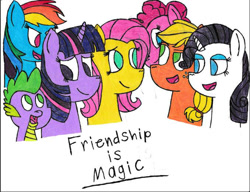 Size: 678x522 | Tagged: safe, artist:magicgirl88, applejack, fluttershy, pinkie pie, rainbow dash, rarity, spike, twilight sparkle, mane seven, mane six, traditional art