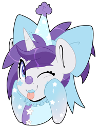 Size: 3052x4000 | Tagged: safe, artist:partylikeanartist, oc, oc:indigo wire, pony, unicorn, absurd resolution, birthday, bow, clothes, clown, clown makeup, clown nose, clowncore, costume, gradient hooves, hat, looking at you, party hat, ponytail, ribbon, simple background, solo, tongue out, transparent background, wingding eyes, winking at you