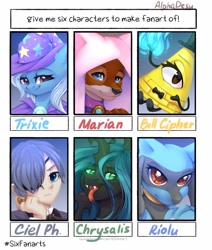 Size: 1242x1464 | Tagged: safe, artist:alphadesu, marian, queen chrysalis, trixie, changeling, changeling queen, fox, human, riolu, six fanarts, :p, anthro with ponies, bill cipher, bowtie, bust, ciel phantomhive, clothes, crossover, disney's robin hood, female, fire, gravity falls, hair over one eye, hat, kuroshitsuji, maid marian, male, open mouth, pokémon, robin hood, tongue out