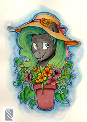Size: 1504x2112 | Tagged: safe, artist:moonraven2, oc, oc:coal, flower, hat, solo, traditional art