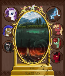 Size: 1868x2200 | Tagged: safe, artist:nalesia, king sombra, rarity, trixie, oc, pony, unicorn, mirror, royal guard