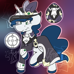 Size: 2000x2000 | Tagged: safe, artist:rosexknight, oc, oc:runic bolt, unicorn, belt, clothes, coat, cutie mark, fancy, hat, male, reference sheet, watermark