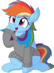 Size: 5766x7699 | Tagged: safe, artist:cyanlightning, rainbow dash, pegasus, pony, .svg available, absurd resolution, clothes, ear fluff, female, folded wings, hoodie, looking up, mare, open mouth, simple background, sitting, solo, transparent background, vector, wings