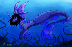 Size: 4425x2878 | Tagged: safe, artist:qwertichan, siren, cloven hooves, commission, curved horn, fins, fish tail, horn, kellin quinn, male, ocean, ponified, scales, signature, sleeping with sirens, solo, swimming, underwater, water, ych result