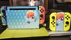 Size: 2048x1152 | Tagged: safe, artist:partylikeanartist, rainbow dash, pegasus, pony, console, irl, nintendo, nintendo switch, photo, switch