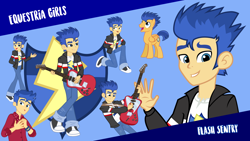 Size: 1920x1080 | Tagged: safe, flash sentry, pegasus, pony, equestria girls, clothes, cute, cutie mark, dress, guitar, jacket, male, musical instrument, open mouth, pants, shoes, stallion, vector, wallpaper