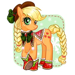 Size: 1024x1024 | Tagged: safe, artist:han_hyui, applejack, earth pony, pony, abstract background, bow, braid, braided tail, christmas, cowboy hat, cute, female, hat, holiday, jackabetes, looking at you, mare, snow, snowflake, solo