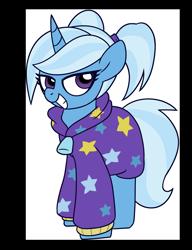 Size: 3000x3900 | Tagged: safe, artist:coaldustthestrange, trixie, pony, unicorn, babysitter trixie, clothes, pigtails, sweater