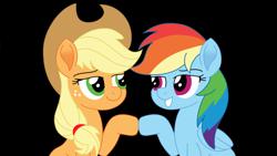 Size: 1280x720 | Tagged: safe, artist:juggybuggy305, applejack, rainbow dash, pony, appledash, black background, female, lesbian, movie accurate, shipping, simple background