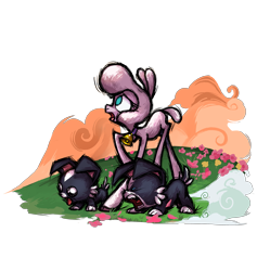 Size: 2953x3111   Tagged: safe, artist:alts-art, pom lamb, dog, lamb, sheep, them's fightin' herds, community related, flower, grass, puppy, simple background, transparent background