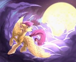 Size: 1969x1613   Tagged: safe, artist:tentaon, scootaloo, pegasus, pony, chest fluff, cloud, ear fluff, fluffy, flying, full moon, happy, moon, scootaloo can fly, sky, solo, stars