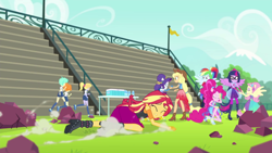Size: 1920x1080 | Tagged: safe, screencap, applejack, cloudy kicks, fluttershy, pinkie pie, rainbow dash, rarity, sci-twi, scribble dee, sunset shimmer, tennis match, twilight sparkle, cheer you on, equestria girls, equestria girls series, spoiler:eqg series (season 2), humane five, humane seven, humane six, sleeveless