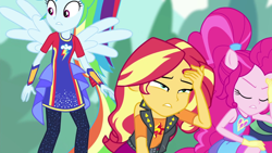 Size: 1920x1080 | Tagged: safe, screencap, pinkie pie, rainbow dash, sunset shimmer, cheer you on, equestria girls, spoiler:eqg series (season 2)