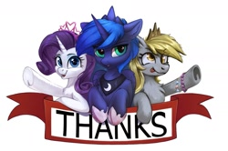 Size: 1629x1080 | Tagged: safe, artist:amy-gamy, artist:breakdream, artist:breakdream_art, artist:taneysha, derpy hooves, princess luna, rarity, alicorn, pegasus, pony, unicorn, collaboration