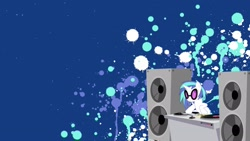 Size: 1920x1080 | Tagged: safe, artist:stimpyrules, dj pon-3, vinyl scratch, pony, unicorn, female, mare, smiling, solo, speakers, sunglasses, turntable, wallpaper