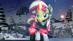 Size: 3840x2160 | Tagged: safe, artist:alicorntwilysparkle, sunset shimmer, pony, unicorn, 3d, battlefield, gun, halftrack, helicopter, revamped ponies, rifle, sniper rifle, source filmmaker, tank (vehicle), weapon, winter