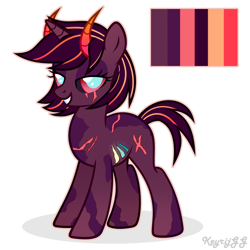 Size: 2000x2000 | Tagged: safe, artist:keyrijgg, oc, oc only, unnamed oc, unicorn, colored pupils, colored sclera, female, grin, horn, horns, lidded eyes, looking at you, mare, reference sheet, scar, signature, simple background, smiling, solo, unicron