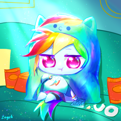 Size: 1080x1080 | Tagged: safe, artist:bronyazaych, rainbow dash, equestria girls, my little pony: pony life, belly, big belly, chibi, chips, chubby cheeks, clothes, costume, couch, couch potato, crumbs, equestria girls interpretation, fat, female, food, himouto! umaru-chan, kigurumi, mare, on back, rainblob dash, remote, scene interpretation, sitting, solo
