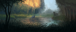 Size: 3500x1500 | Tagged: safe, artist:neeoray, oc, oc only, oc:queen lahmia, changeling queen, blue changeling, canterlot, cattails, changeling queen oc, forest, scenery, scenery porn, solo, spear, statue, swamp, tree, weapon